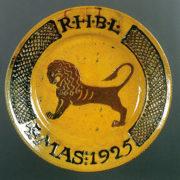 ガレナ釉筒描獅子文大皿